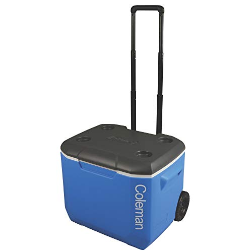 Coleman Performance Wheeled Cooler, 60-Quart, Blue/White/Dark Gray (Coleman Cooler 60)
