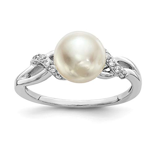 Brooch Pearl Akoya (925 Sterling Silver 9mm White Freshwater Cultured Pearl Cubic Zirconia Cz Band Ring Size 6.00 Fine Jewelry Gifts For Women For Her)