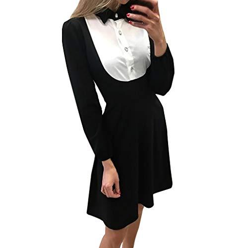 Pervobs Women's Autumn Patchwork Long Sleeve Turn Down Collar Slim Waist Button Up Swing Flowy Mini Dress(XL, Black)