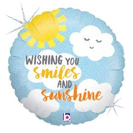 Wishing You Smiles & Sunshine Holographic 18'' Mylar Balloon Get Well Soon Birthday Party Decorations Supplies