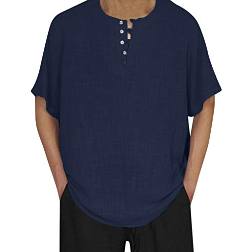 Men's Blouse,Freesa Training Fitness Leisure Daily Men's Baggy Cotton Linen Solid Color Short Sleeve Retro T Shirts Tops Blouse Solid Broadcloth Black,Gray,Navy,Blue