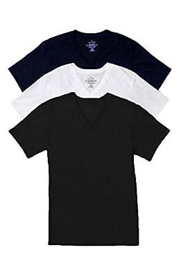 Calvin Klein Men`s Underwear Short Sleeve Cotton Classic Fit V-Neck Shirt, 3-Pack