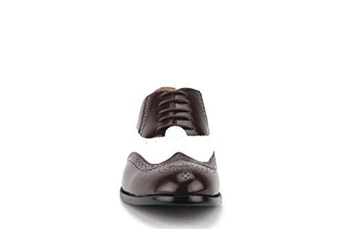 Majestueuze Heren 95753 Tweekleurige Vleugeltip Brogue Formele Veterschoenen Van Oxford-schoenen Chocolade / Snwwht