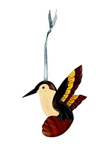 - Handmade Double Side Intarsia Wood Hummingbird Ornament - Gift Boxed