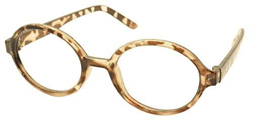FancyG Retro Geek Nerd Oval Round Shape Glass Frame NO LENSES - Leopard (Teacher Costume)