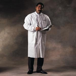 Halyard Health 10021 Basic Plus Lab Coat with Knit Collar and Cuffs, 5 Snaps, 114.3 cm Length, Medium, White (Pack of 25)