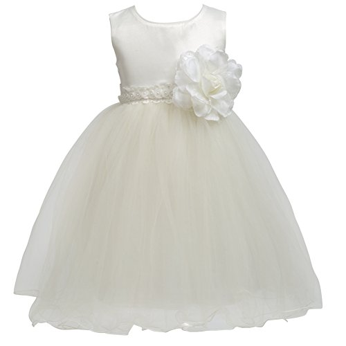 Merry Day Flower Baby Girl Petals Dress Toddler Tulle Wedding Pageant Party Dresses Cream 3-4 Years -