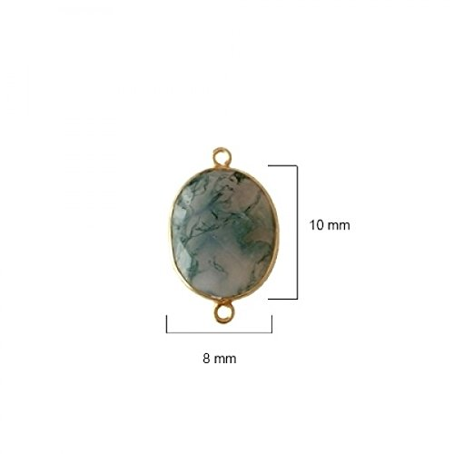 2 Pcs Natural Moss Agate Oval Beads 8X10mm 24K Gold Vermeil by BESTINBEADS, Natural Moss Agate Oval Pendant Bezel Gemstone Connectors Over 925 Sterling Silver Bezel Jewelry Making Supplies