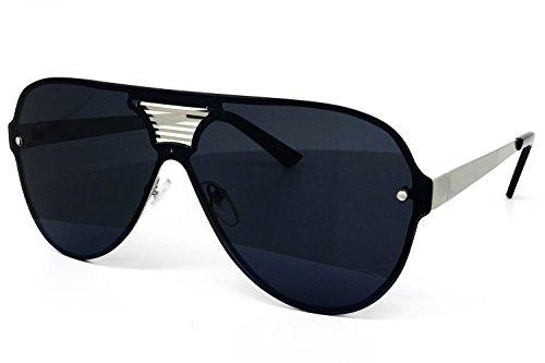 de9e2c203ecd O2 Eyewear 528 Oversize XL Wraparound One Piece Rimless Shield Designer  Futuristic Flat Top Sunglasses