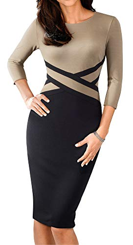 HOMEYEE Women's 3/4 Sleeve Colorblock Sheath Pencil Church Dress B463(6,Brown)