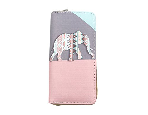 JD Million shop Zipper Around Womens Organizer Wallets Leather Print Elephant Long Girls Purses Coin Pocket Credit Card Holder Clutch - Card Egift To Cash