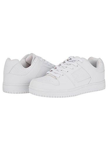 Oodji Ultra Hombre Zapatillas de Piel Sintética de Suela Gruesa, Blanco, 41 EU/7.5 UK