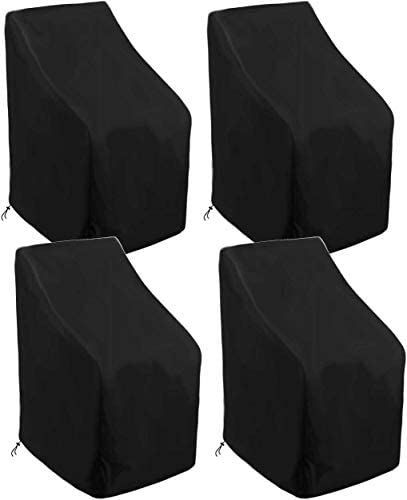 skyfiree 4 Pack Stacking Patio Chair Cover 35x35x47 35 inch Waterproof Durable Stackable Patio Chairs Outdoor Furniture Cover Protector Black
