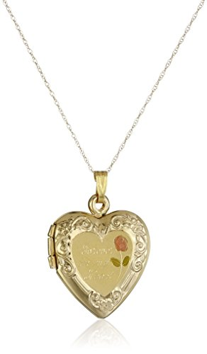 "14k Yellow Gold ""Forever In My Heart"" Locket Necklace, 18"""