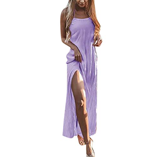 Womens Holiday High Split Sling Summer Solid Boho Backless Beach Party Dress ()
