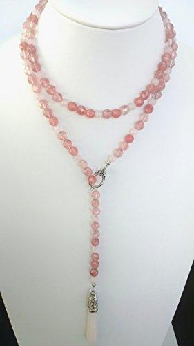Rose Quartz, Cherry Quartz lariat necklace and earring set