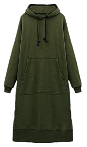 Felpe Moda Tayaho Cappuccio Frontale Lunga Tasca Allenamento Pullover Manica Top Felpa Abito Donna Colore Puro con Green Oversized Sweatshirt Hoodies dYYOxrw