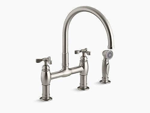 Kohler K-6131-3-VS Parq Deck-Mount Kitchen Faucet with Spray, Vibrant Stainless