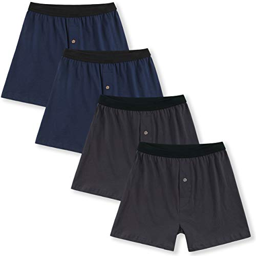 - Innersy Men's 4 Pack Ultimate Soft Stretchy All Cotton Knit Boxers (XL, 2 Brown& 2 Navy)