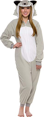 Silver Lilly Slim Fit Animal Pajamas - Adult One Piece Cosplay Wolf Costume (Grey, -