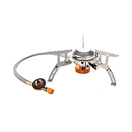 Outry 3500W Foldable Camping Gas Stove with Piezo Ignition, Outdoor Windproof Portable Backpacking Stove Cooking with Carrying Case Box (3500W)