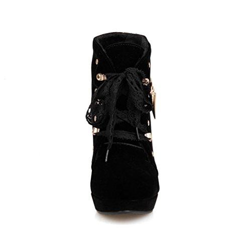 DecoStain Women's Lace Strap Metal Fringe Ornamented Bootie Black 48urQ