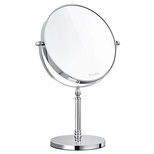 (FRCOLOR Magnifying Vanity Mirror, Double Sided Swivel Makeup Mirror 10X Magnification Cosmetic Mirror 360° Rotation with Mirror Cleaning Cloth, 13.8 Inch Height)