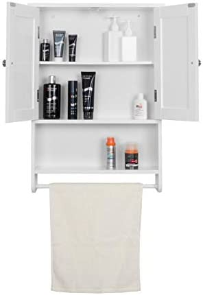 Wall Bathroom Cabinet Storage Unit Cupboard Pastoral Wooden /2 Doors/One Shelf/One Hanging Rail 48,5x65x14,5cm