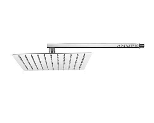 ANMEX® 10X10  10inch  UltraSlim Stailness Steel Heavy Rain Shower Head with 18inch Stainless Steel Arm  Silver, Chrome Finish