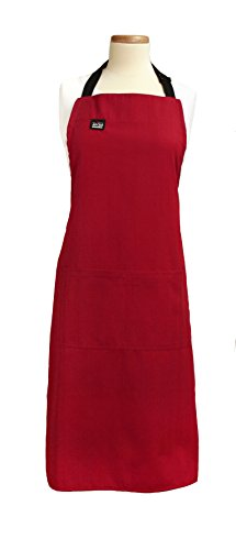 All-Clad Textiles Professional Stain Resistant Heavyweight Cotton Twill Bib Apron with Adjustable Straps, Solid Chili Red -