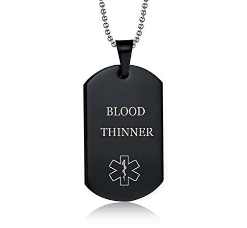 (XUANPAI Blood THINNER Stainless Steel Medical Alert ID Dog Tag Pendant Necklace for Men & Women)