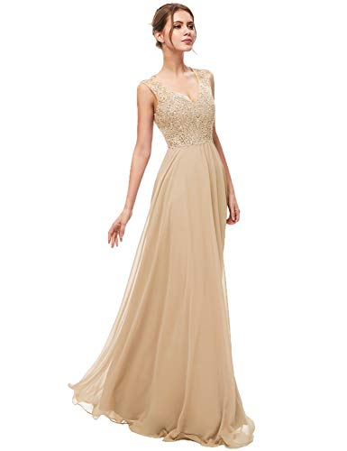 Sarahbridal Women's Chiffon Prom Dress Long 2019 Applique Sequin Bridesmaid Party Gowns Champagne US8