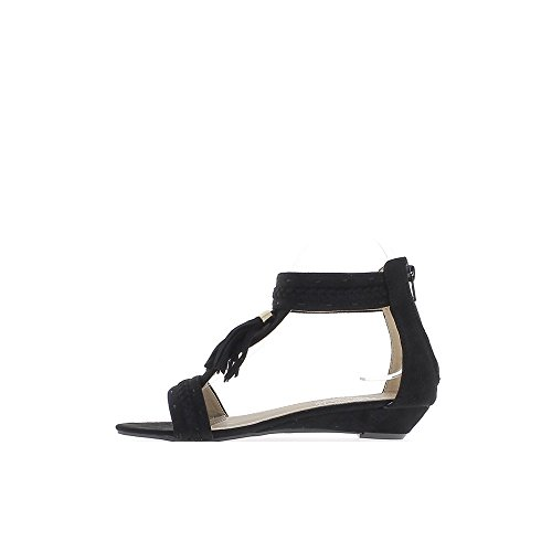 Sandales femme compensées noires à talons de 3cm look daim avec pompon