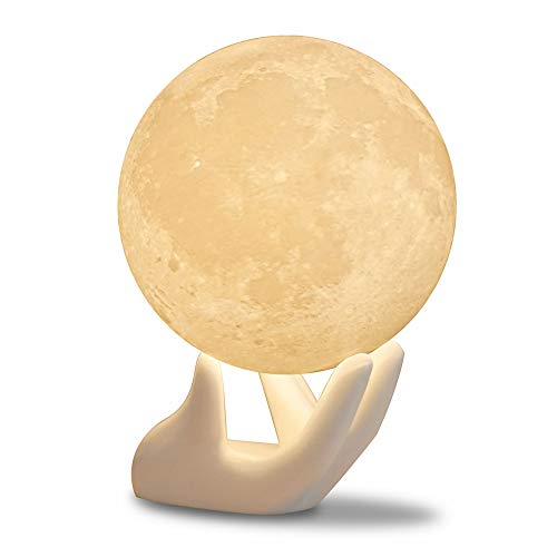 Ceramic Night Light - Full Moon Lamp Night Light 3.5IN With Ceramic Hand Stand 3D Printed with Safe PLA, Eye Caring LED, Dimmable and Rechargeable, Two Colors Touch Control, cool Gift For baby Kids lover and family
