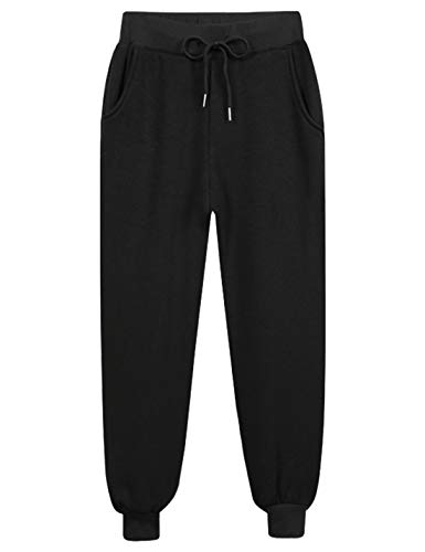 Yeokou Women's Warm Sherpa Lined Athletic Sweatpants Jogger Fleece Pants (Large, Black(Thin)) ()