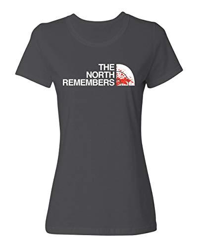 Memento North Remembers Got Thrones Women's Game TV Ladies Crewneck T-Shirt (Gray, ()