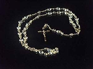R.Heaven Clear Glass Rosary Beads with Heart Shaped Beads on Gold Chain Center and Crucifix