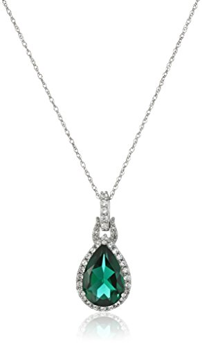 10K White Gold Created Emerald with Created White Sapphire Drop Pendant Necklace, 18