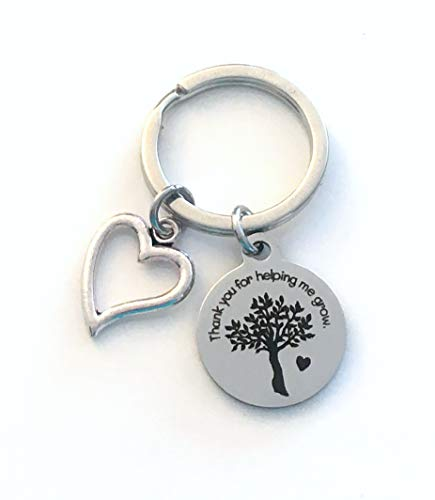 Thank you for helping me grow Key Chain, Gift for Teacher, Mentor, Kindergarten, Daycare, Au Pair, Guardian, Step Mother Father, or Nannie Keychain - Open Heart Charm, Teach Keyring, Thank you Present, Him Her Men Women Guardian Counselor Counsel, Religious studies, Grandparent or Foster Parent Tree Design