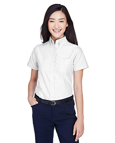 A Product of UltraClub Ladies' Classic Wrinkle-Resistant Short-Sleeve Oxford -B White