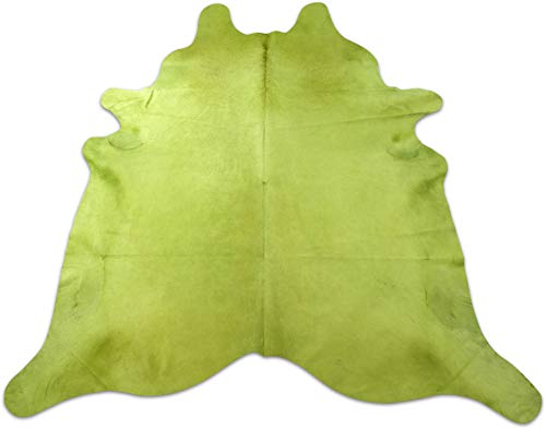 Dyed Lime Green Cowhide Rug Size: 8' X 7.4'Huge Dyed Green Cowhide Rug C-223 ()