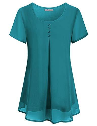 Chiffon Pleated Tunic - Cestyle Blouses for Women Fashion 2019, Women's Short Sleeve Tunics Shirt Round Neck Pleated Front Dressy Flowy Layered Chiffon Summer Clothes Cyan Medium