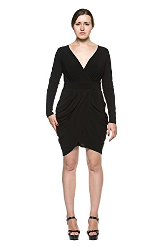 Women's Plus Draped Low Crossover Faux Wrap Gathered Skirt Evening Party Dress (2XL, Black) (Dress Black Ruched Dress Short Little)