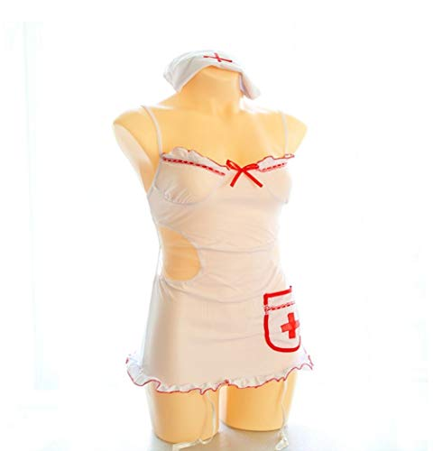 Fushenr Lencería de enfermería para Halloween, Disfraz de Enfermera, Uniforme Sexy + Gorra de Gorro, Traje Sexy lencería (Talla única): Amazon.es: Hogar