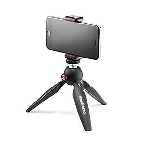 Manfrotto Pixi MKPIXICLAMP-BK Lightweight Mini Tripod Black with Universal Smartphone Clamp, Black