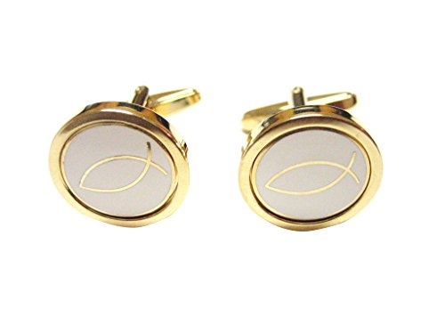 Gold and White Toned Religious Icthus Fish Cufflinks (Pin Lapel Ichthus Fish)