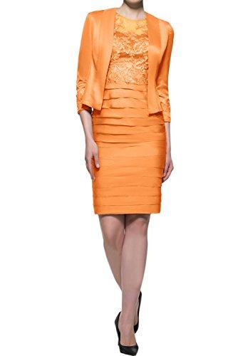 Abendkleider Hochwertig Ivydressing Orange Knielang Mutterkleid Spitze Festkleider Mit Bolero Damen wExB7x5fq