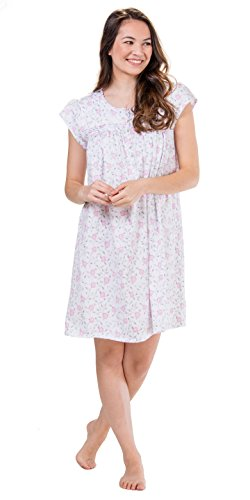 (Eileen West Plus Cotton Knit Cap Sleeve Short Nightgown in Floral Stitch (1X / 18W-20W, White/Pink Gray Floral))
