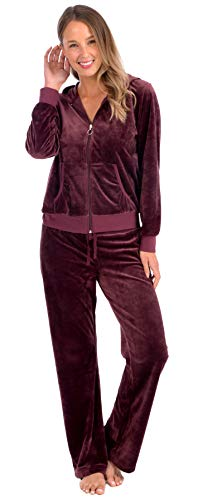 Pink Lady Womens Soft Velour Zip Hoodie and Bottoms Lounge Tracksuit (Winsor Wine, L) (Sweatpants Set For Women)