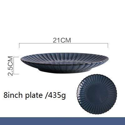 1PC KINGLANG Nordic Simple But Elegant Ceramic Retro Chrysanthemum Plate Household Dish Tableware   8inch Plate